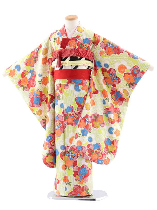七五三レンタル(7歳女児袋帯) 正絹 7734 きみどり地 小紋 桜