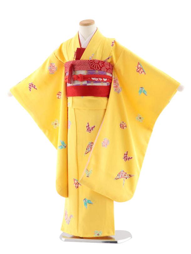 七五三レンタル(7歳女児袋帯) 正絹 7735 黄色地 小紋 折り紙あそび