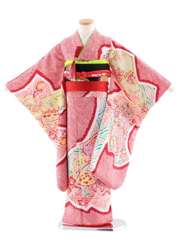 七五三レンタル(7歳女児袋帯) 高級正絹 7736 赤地 菱田柄 のしに鈴