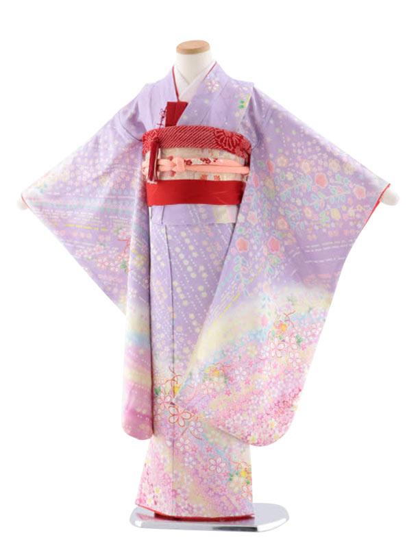 七五三レンタル(7歳女児袋帯) 正絹 7737 うす紫地 花流し まり