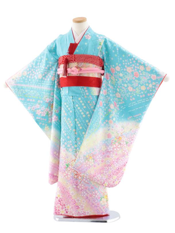 七五三レンタル(7歳女児袋帯) 正絹 7738 水色地 花流し まり