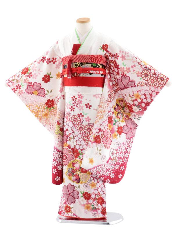 七五三レンタル(7歳女児袋帯) 正絹 7739 白地 桜ながし