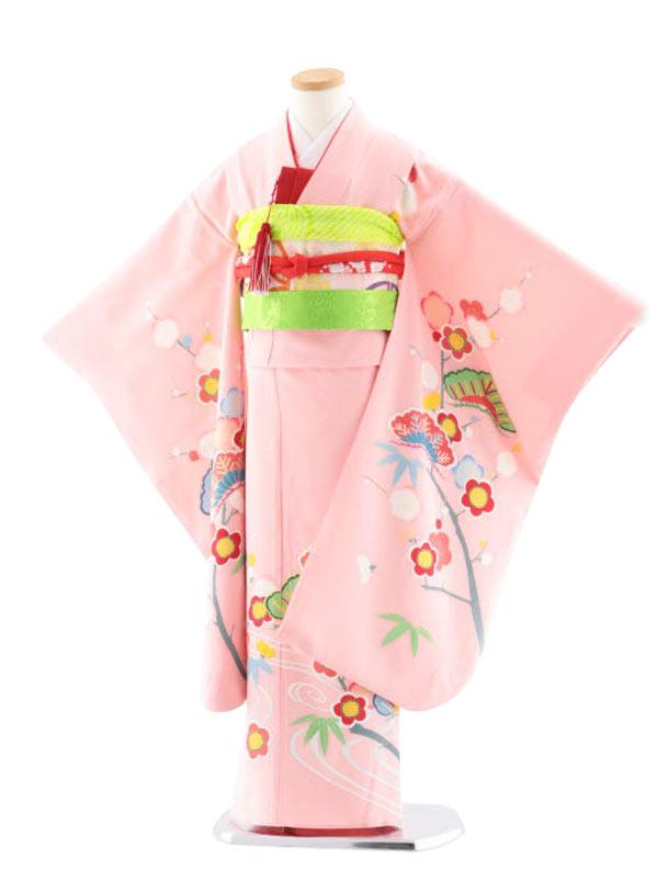 七五三レンタル(7歳女児袋帯) 最高級正絹 7742  手描き友禅 ピンク松竹梅