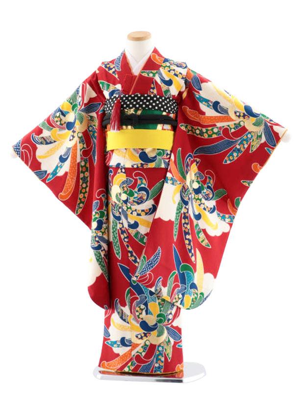 七五三レンタル(7歳女児袋帯) 正絹 7744 紅一点 赤 菊 大輪