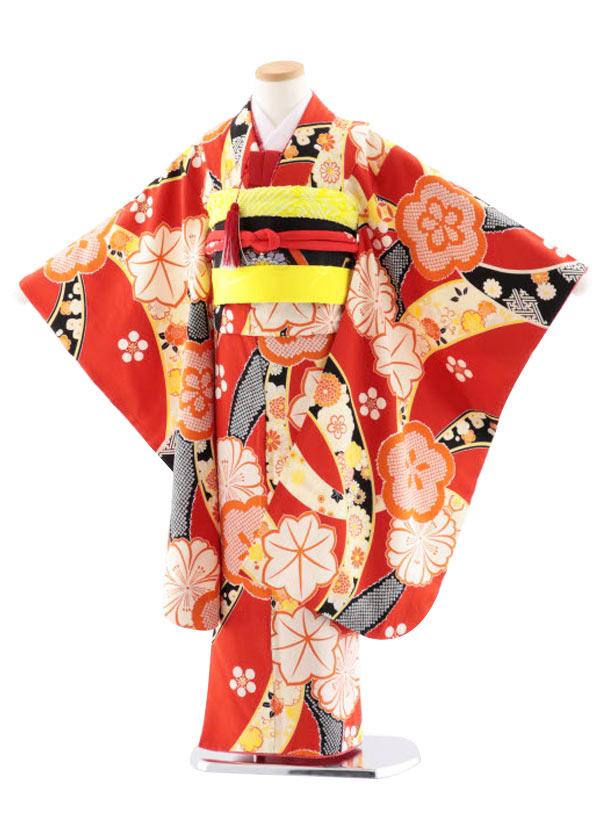 七五三レンタル(7歳女児袋帯) 高級正絹 7745 紅一点 赤 のしに梅