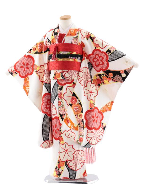 七五三レンタル(7歳女児袋帯) 高級正絹 7746 紅一点 白 のしに梅
