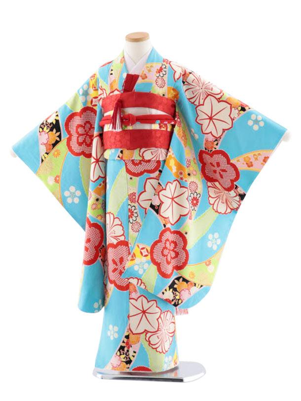 七五三レンタル(7歳女児袋帯) 高級正絹 7747 紅一点 水色 のしに梅