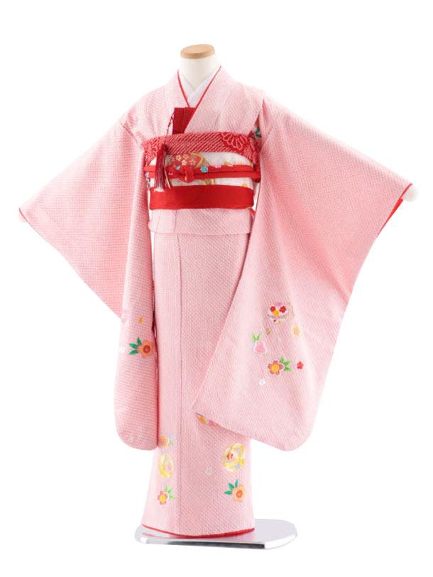 七五三レンタル(7歳女児袋帯) 高級正絹 7748 総絞りに刺繍 毬と桜