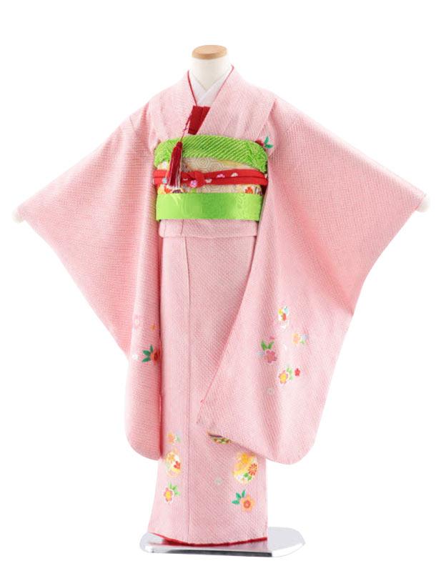 七五三レンタル(7歳女児袋帯) 高級正絹 7749 総絞りに刺繍 鈴と桜