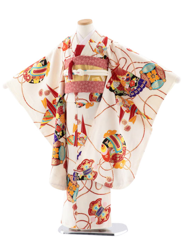 七五三レンタル(7歳女児袋帯) 高級正絹 7750 紅一点 白 折鶴 扇