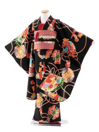 七五三レンタル(7歳女児袋帯) 高級正絹 7751 紅一点 黒 折鶴 扇