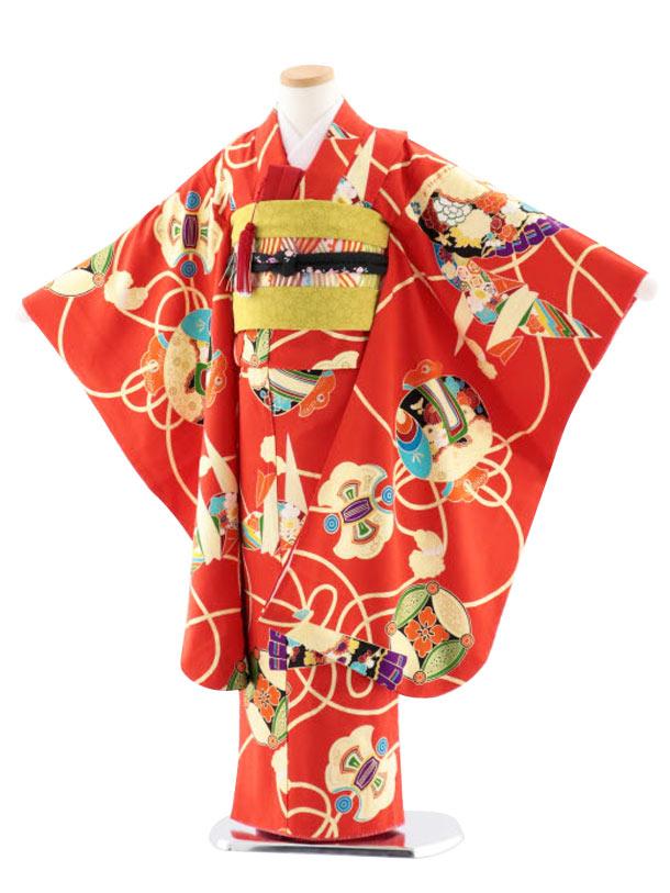 七五三レンタル(7歳女児袋帯) 高級正絹 7752 紅一点 赤 折鶴 扇