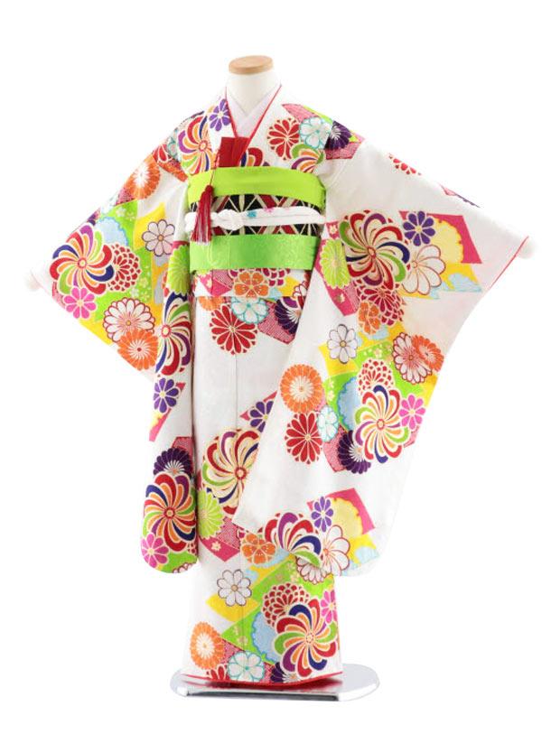 七五三レンタル(7歳女児袋帯) 高級正絹 7753 菱取りにねじり菊 白