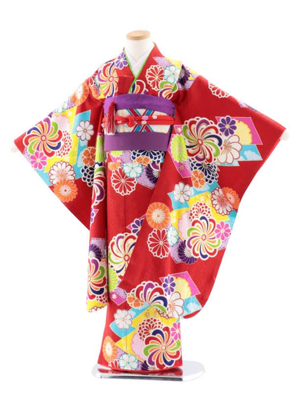 七五三レンタル(7歳女児袋帯) 高級正絹 7754 菱取りにねじり菊 赤