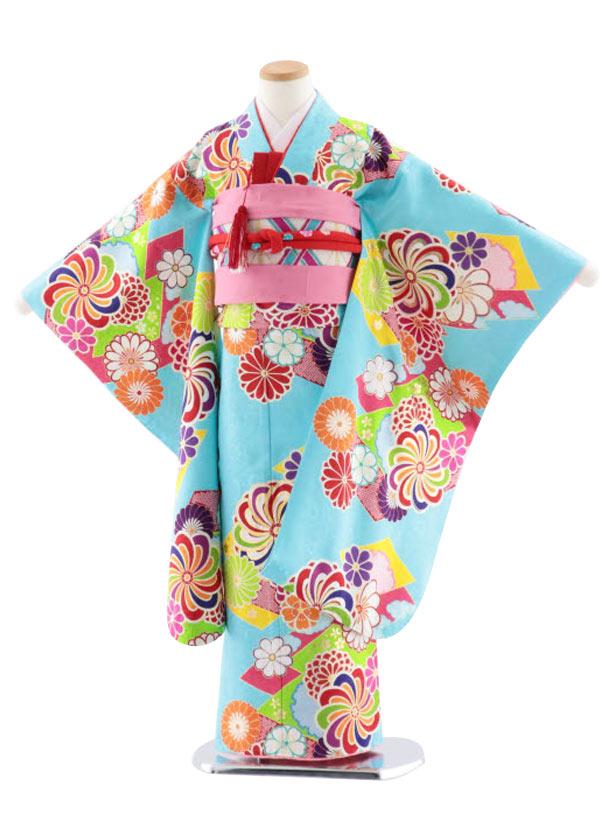 七五三レンタル(7歳女児袋帯) 高級正絹 7755 菱取りにねじり菊 水色