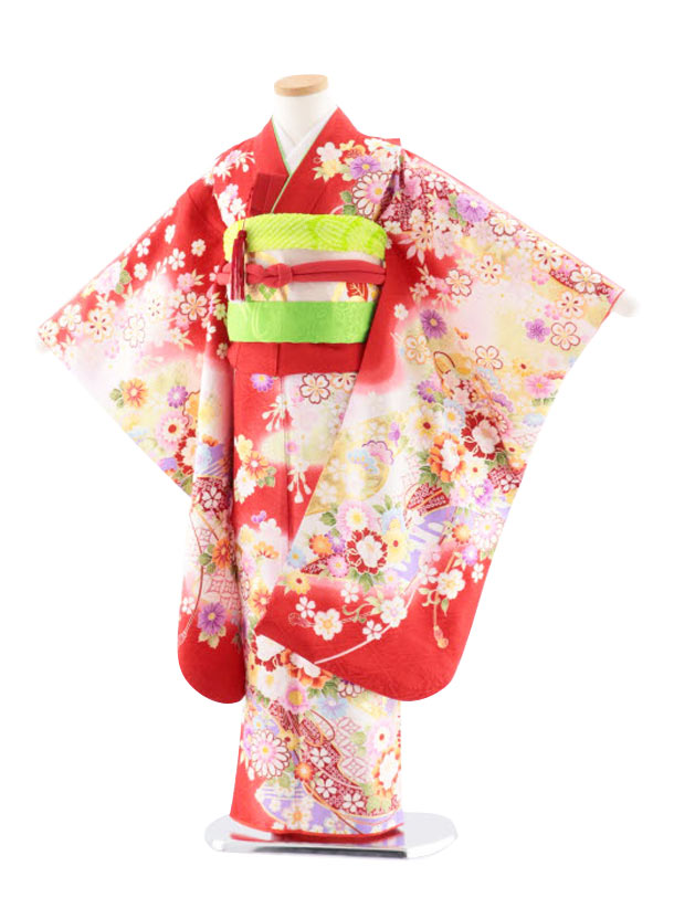 七五三レンタル(7歳女児袋帯) 正絹 7756 京友禅 四季の花々