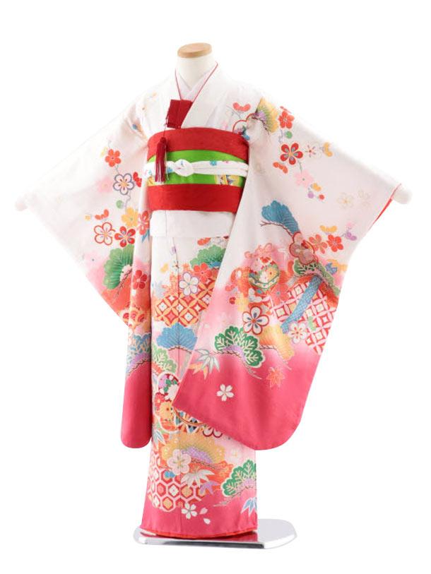 七五三レンタル(7歳女児袋帯) 高級正絹 7757 白地ぼかし 松竹梅にまり