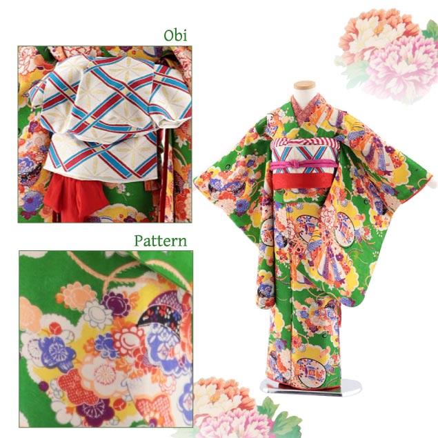 七五三(7歳女袋帯) アンティーク 7763 グリーン地 扇 羽織紫 花 薬玉