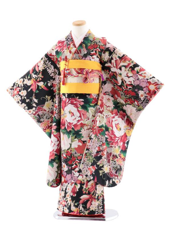 七五三レンタル(7歳女児結び帯) 7764 式部クラシック 黒地 花