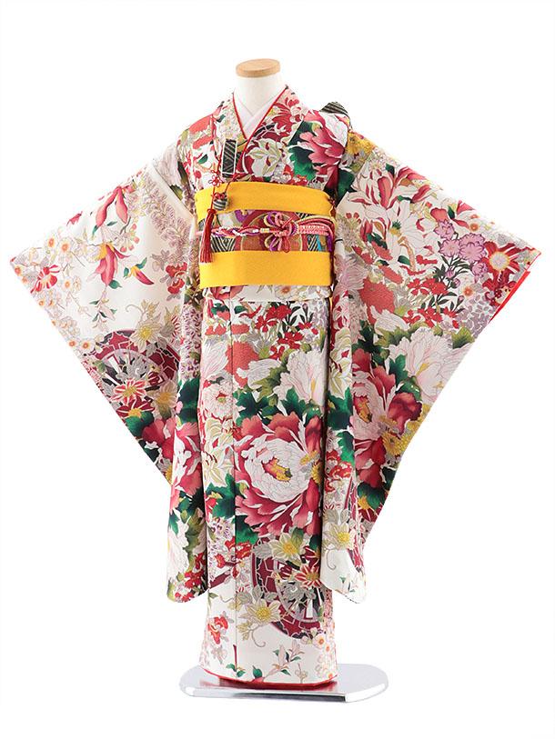 七五三レンタル(7歳女児結び帯) 7766 式部クラシック 白地 花