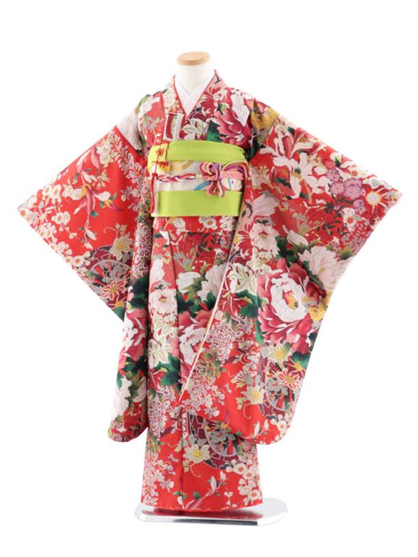 七五三レンタル(7歳女児結び帯) 7767 式部クラシック 赤地 花
