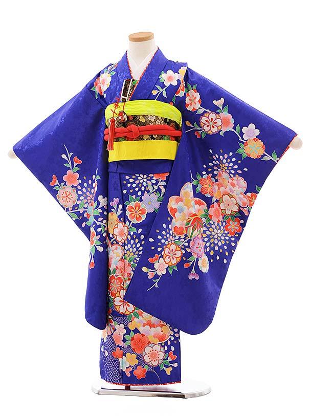 七五三(7歳女児結び帯)7773 ブルー地 桜