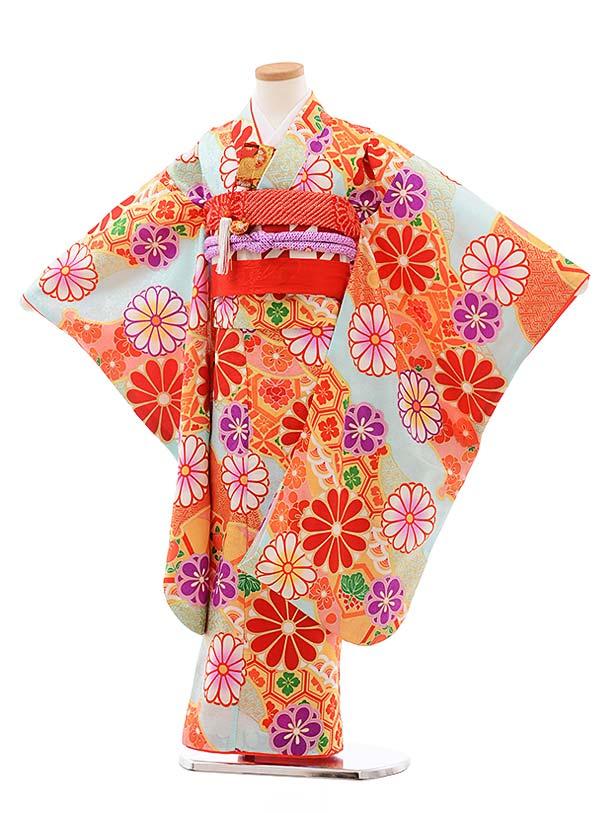 七五三(7歳女児結び帯)7785 正絹 水色地 菊