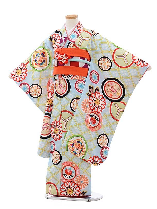 七五三レンタル(7歳女児結び帯)7790川栄李奈水色丸紋