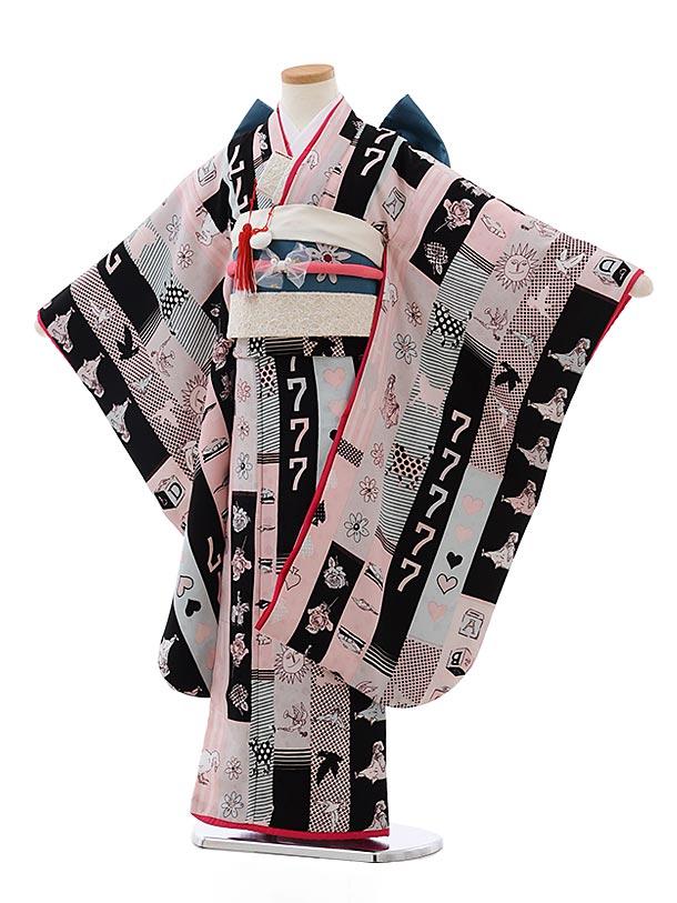 七五三(7歳女結び帯)7792モダンアンテナラッキーセブン黒ピンク