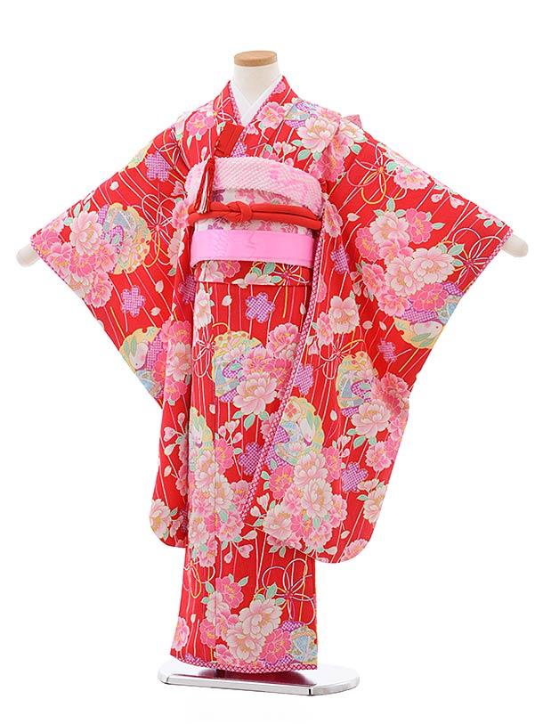 七五三レンタル(7歳女児結び帯)7799赤地八重桜