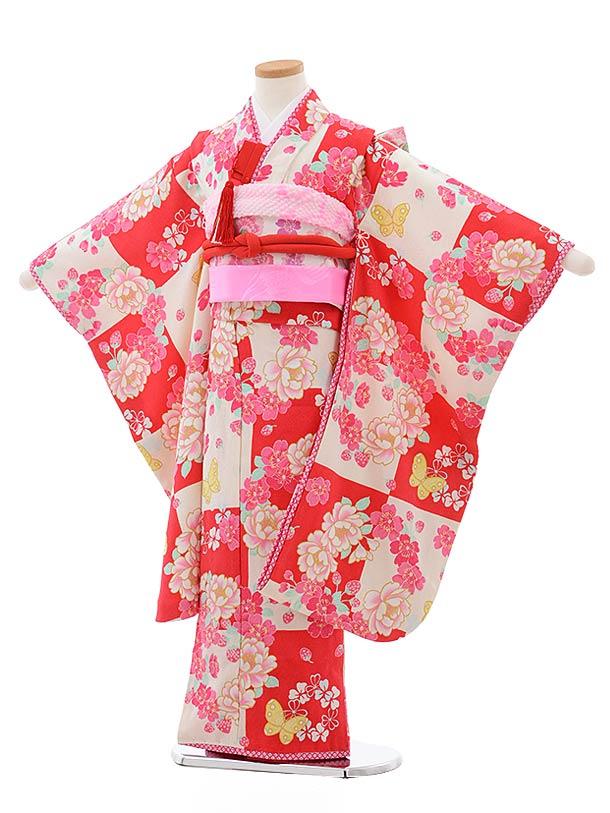 七五三(7歳女児結び帯)7800チェリーピンク地桜に蝶