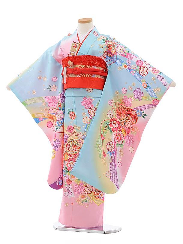 七五三(7歳女児結び帯)7801水色ピンクぼかしまり