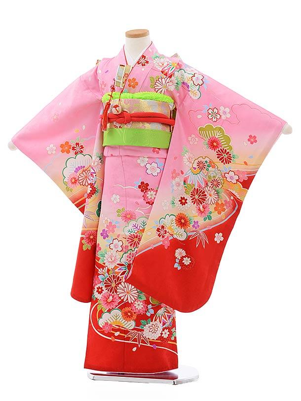 七五三(7歳女児結び帯)7802ピンク地裾赤雪輪に花