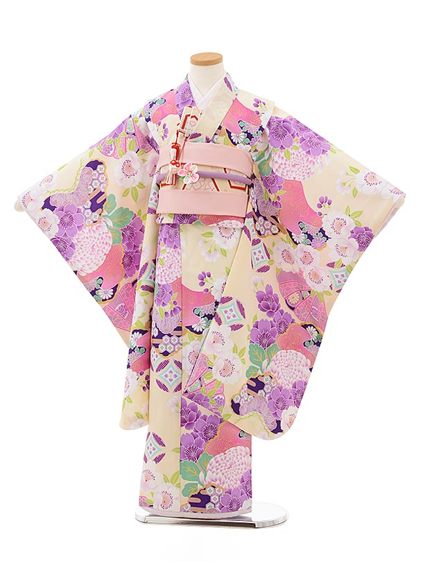 七五三レンタル(7歳女の子結び帯)7814ぷちぷりクリーム地扇松桜