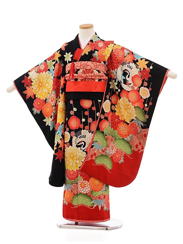 七五三レンタル(7歳女の子結び帯)7817黒地松菊鶴