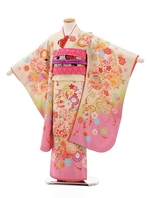 七五三レンタル(7歳女の子結び帯)7818乙葉クリーム地裾ピンクぼたんまり