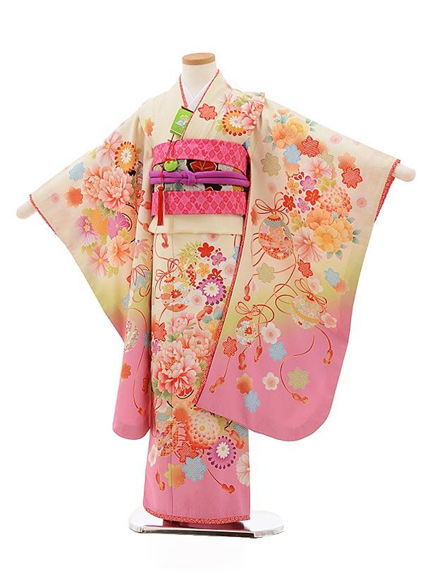 七五三レンタル(7歳女の子結び帯)7819クリーム地裾ピンクぼたんまり