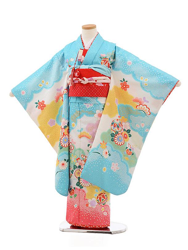 七五三レンタル(7歳女の子結び帯)7821水色地裾ピンク花まり