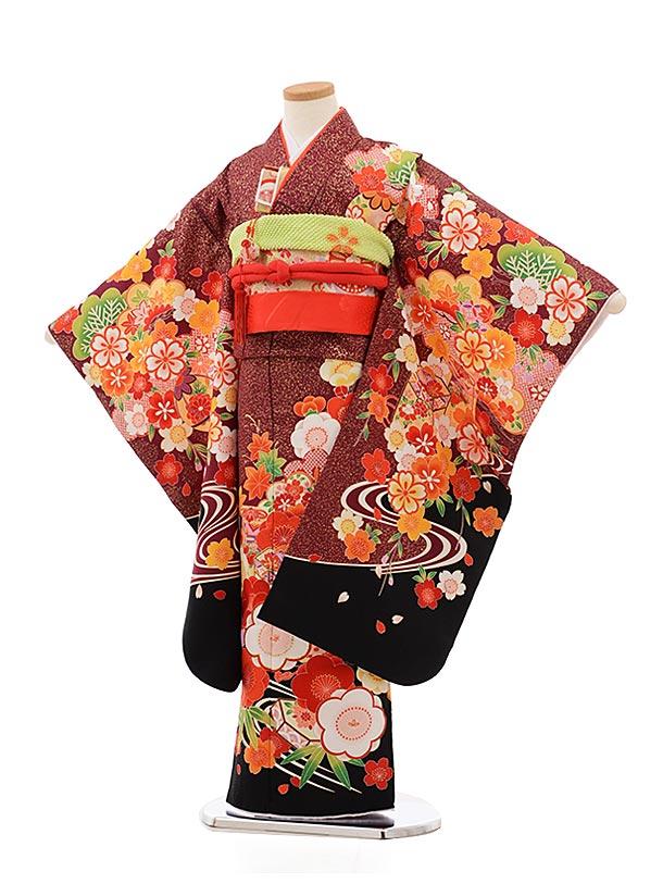 七五三(7歳女児結び帯)7823ボルドー裾黒梅貝桶