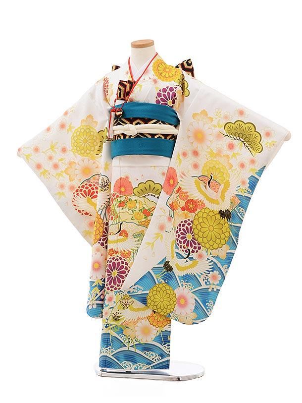 七五三(7歳女児結び帯)7824白地波に鶴花