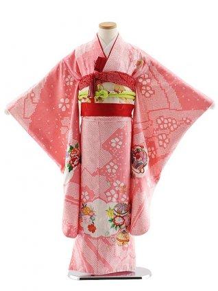 七五三レンタル(7歳女児袋帯) 7826 正絹 ピンク 疋田柄まり刺繍