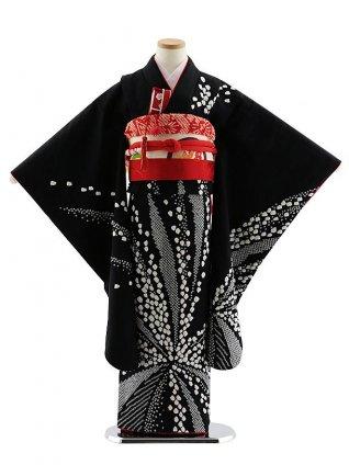七五三レンタル(7歳女児袋帯) 7827 正絹 黒 絞り