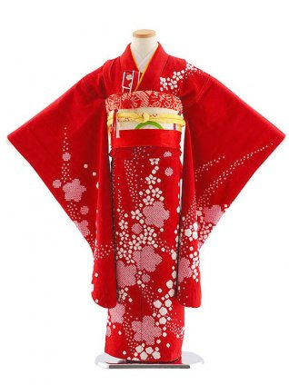 七五三レンタル(7歳女児袋帯) 7828 正絹 赤 絞り