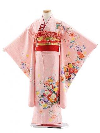 七五三レンタル(7歳女児袋帯) 7829 正絹 ピンク 桜花車