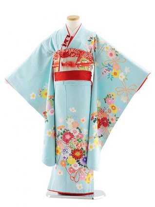 七五三レンタル(7歳女児袋帯) 7830 正絹 水色 花まり