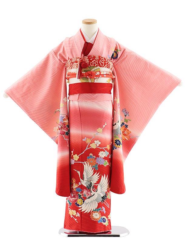 七五三レンタル(7歳女児袋帯) 7831 正絹 ピンク裾赤鶴