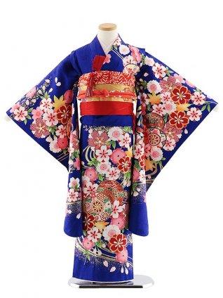 七五三レンタル(7歳女児袋帯) 7832 正絹 ブルー桜に鼓