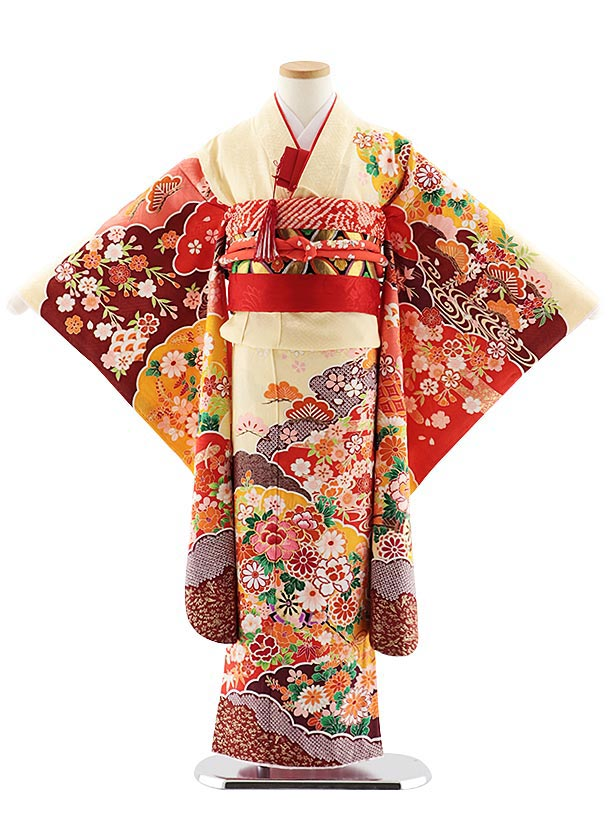 七五三レンタル(7歳女児袋帯) 7833 正絹 クリーム桜に花車