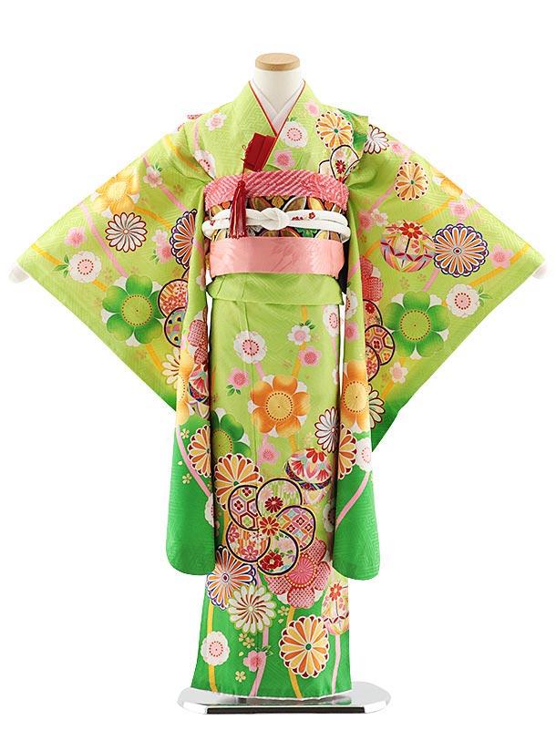 七五三レンタル(7歳女児袋帯) 7834 正絹 グリーン桜菊まり