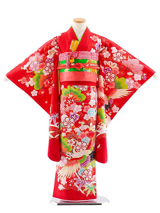 七五三レンタル(7歳女児袋帯) 7836 正絹 赤 松竹梅に鶴